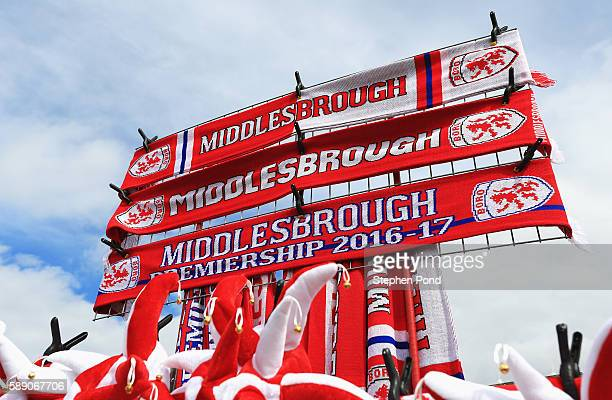 Scarf's for sale outside the Riverside Stadium prior to kick off during the Premier League match between Middlesbrough and Stoke City at Riverside...