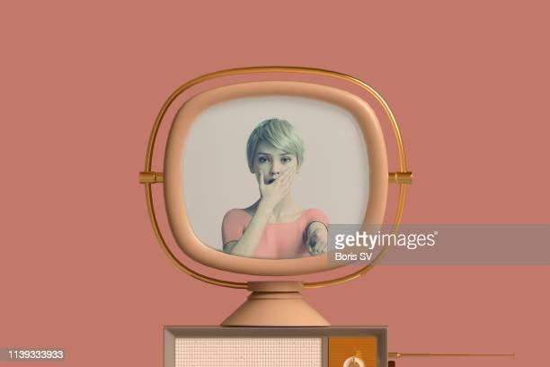 scaring off tv - pastellfarbig stock-fotos und bilder