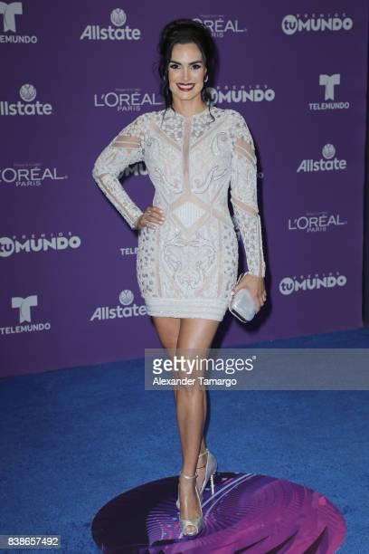 Scarlet Ortiz arrives at Telemundo's 2017 Premios Tu Mundo at American Airlines Arena on August 24 2017 in Miami Florida