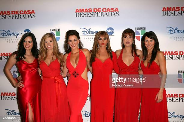 Scarlet Ortiz Lorna Paz Gabriela Vergara Lucia Mendez Julieta Rosen and Ana Serradilla pose at the launch party for Amas de Casa Desesperadas at Karu...