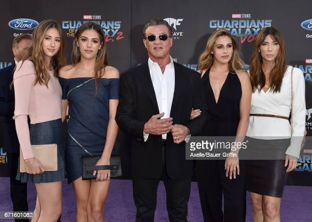 Scarlet Rose Stallone Sistine Rose Stallone actor Sylvester Stallone Sophia Rose Stallone and model Jennifer Flavin arrive at the premiere of Disney...