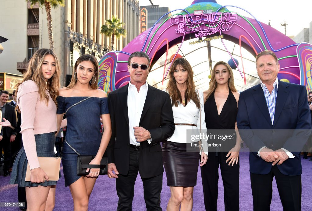 Scarlet Rose Stallone, Sistine Rose Stallone, Sylvester Stallone, Jennifer Flavin, Sophia Rose Stallone, Frank Stallone at the premiere of Disney and Marvel's 'Guardians Of The Galaxy Vol. 2' at Dolby Theatre on April 19, 2017 in Hollywood, California.