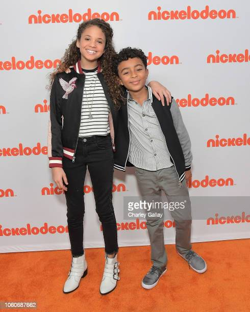 Scarlet Spencer and Micah Abbey attend Nickelodeon' Holiday Party With Casts Of Cousins For Life And Henry Danger at Nickelodeon Studios on November...