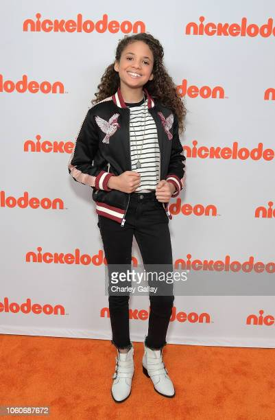Scarlet Spencer attends Nickelodeon' Holiday Party With Casts Of Cousins For Life And Henry Danger at Nickelodeon Studios on November 10 2018 in...