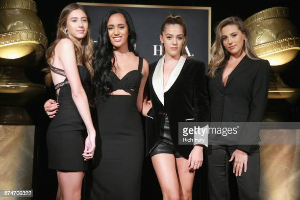 Scarlet Stallone Miss Golden Globe 2018 Simone Alexandra Johnson Sistine Stallone and Sophia Stallone attend the press conference for the Hollywood...
