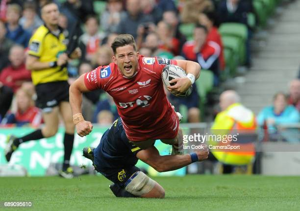 Scarlets' DTH Van Der Merwe scores his sides fifth try during the Guinness PRO12 Final match between Munster and Scarlets at the Aviva Stadium on May...
