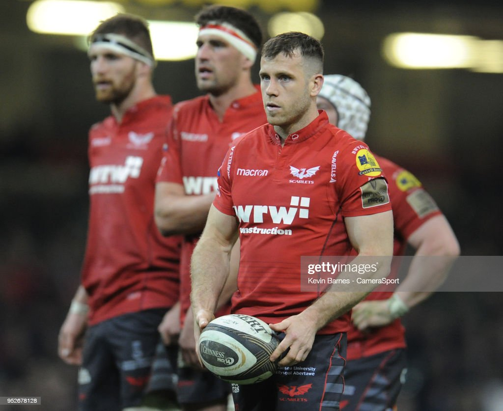 Scarlets' Gareth Davies during the Guinness PRO14 Round 21 Judgement Day VI match between Cardiff Blues and Ospreys at Principality Stadium at Principality Stadium on April 28, 2018 in Cardiff, Wales.