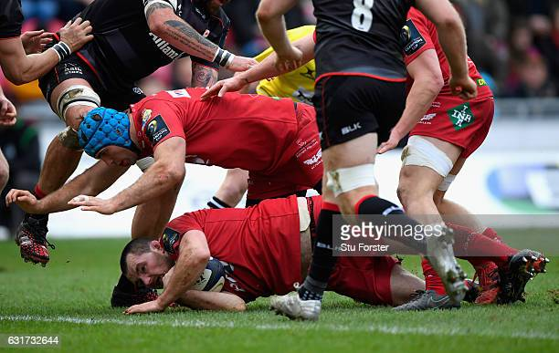 Scarlets hooker Ken Owens just comes up short of the line during the European Rugby Champions Cup match between Scarlets and Sarcens at Parc y...