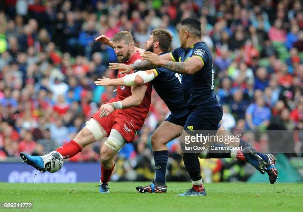 Scarlets' John Barclay in action during the Guinness PRO12 Final match between Munster and Scarlets at the Aviva Stadium on May 27 2017 in Dublin...