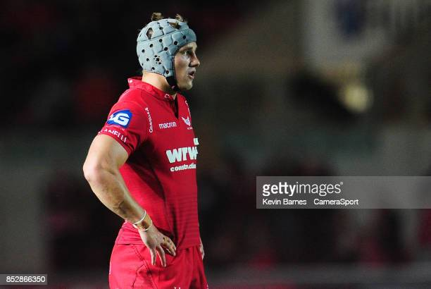 Scarlets' Jonathan Davies during the Guinness Pro14 Round 4 match between Scarlets and Edinburgh Rugby at Parc y Scarlets on September 23 2017 in...