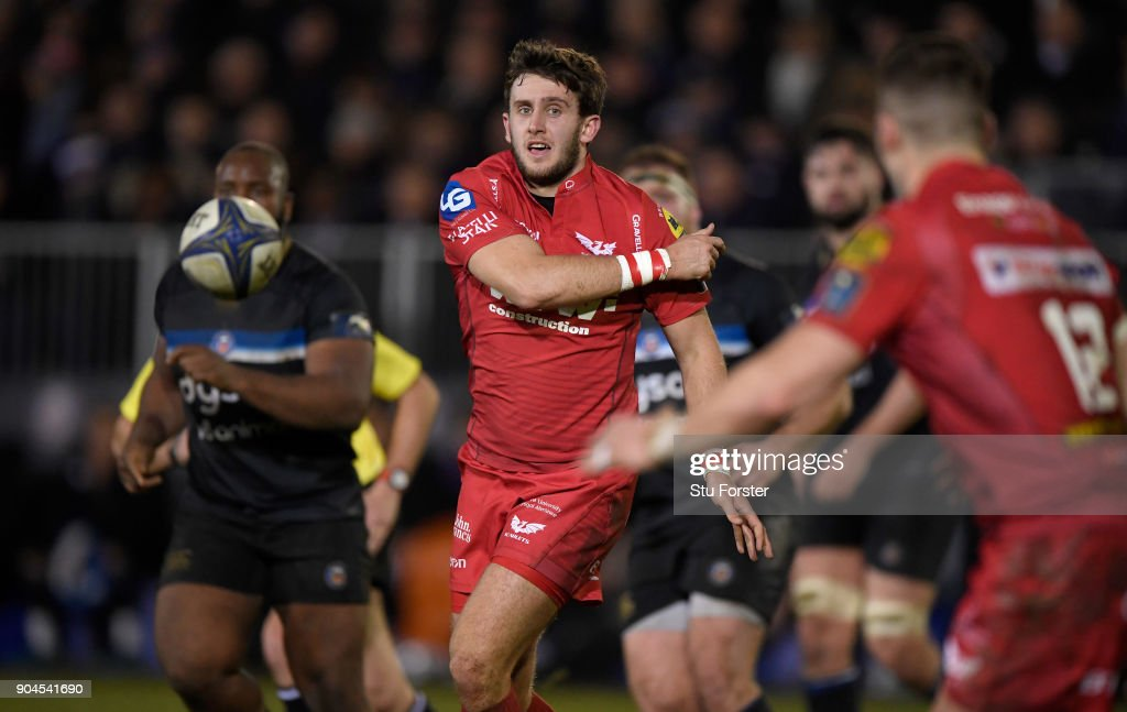 Scarlets player Dan Jones in action during the European Rugby Champions Cup match between Bath Rugby and Scarlets at Recreation Ground on January 12, 2018 in Bath, England.