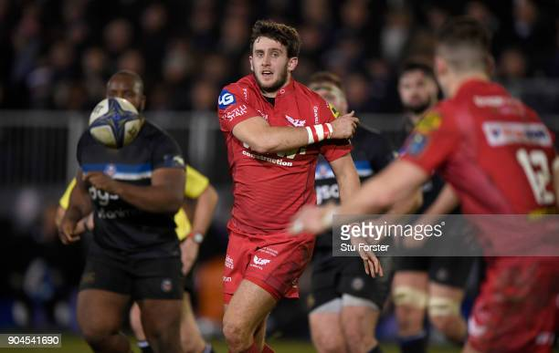 Scarlets player Dan Jones in action during the European Rugby Champions Cup match between Bath Rugby and Scarlets at Recreation Ground on January 12...