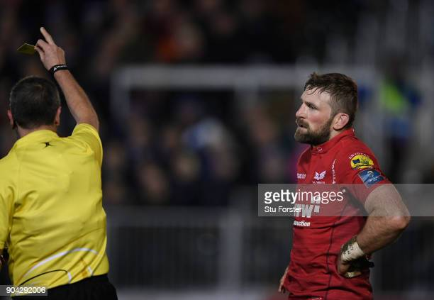 Scarlets player John Barclay is yellow carded during the European Rugby Champions Cup match between Bath Rugby and Scarlets at Recreation Ground on...