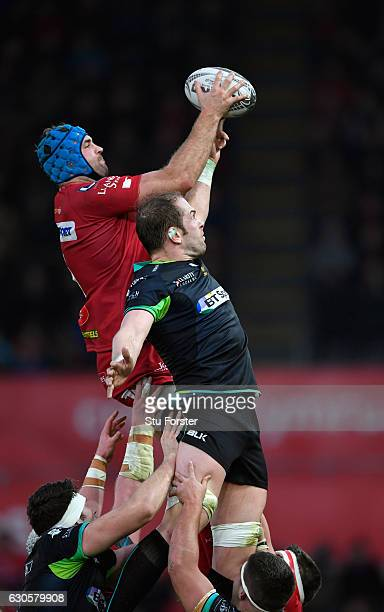 Scarlets player Tadhg Beirne beats Alun Wyn Jones in the lineout during the Guinness Pro 12 match between Ospreys and Scarlets at Liberty Stadium on...
