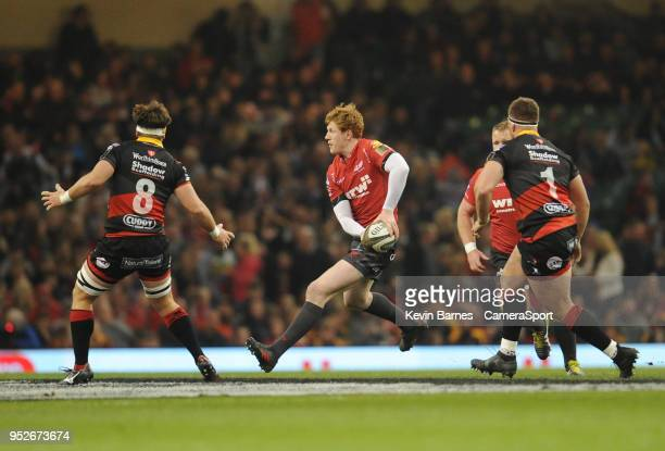 Scarlets' Rhys Patchell during the Guinness PRO14 Round 21 Judgement Day VI match between Cardiff Blues and Ospreys at Principality Stadium at...