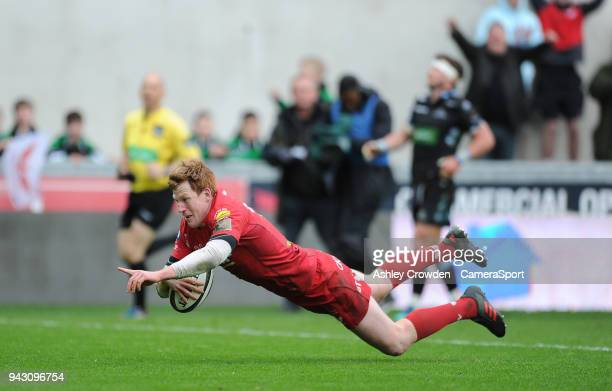 TRY Scarlets' Rhys Patchell scores his sides third try during the Guinness PRO14 Round 19 match between Scarlets and Glasgow Warriors at Parc y...