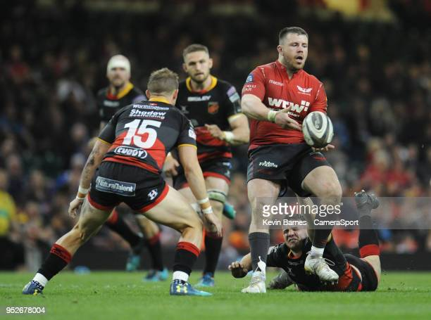 Scarlets' Rob Evans is tackled by Dragons' Elliot Dee during the Guinness PRO14 Round 21 Judgement Day VI match between Cardiff Blues and Ospreys at...