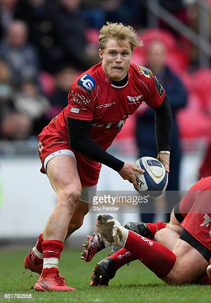 Scarlets scrum half Aled Davies in action during the European Rugby Champions Cup match between Scarlets and Sarcens at Parc y Scarlets on January 15...