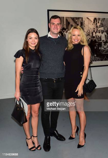 Scarlett Byrne Cooper Hefner and Pamela Anderson attend Maddox Gallery Los Angeles Presents Pamela Anderson by David Yarrow at Maddox Gallery on June...