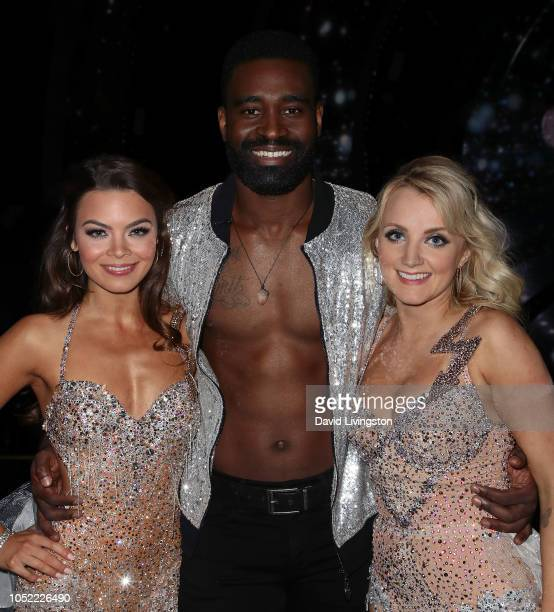 Scarlett Byrne Keo Motsepe and Evanna Lynch pose at Dancing with the Stars Season 27 at CBS Televison City on October 15 2018 in Los Angeles...