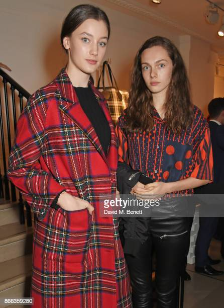 Scarlett CaudwellBurgess and Sophia Roberts attend the Burberry BAFTA Breakthrough Brits 2017 at the global Burberry flagship on October 25 2017 in...
