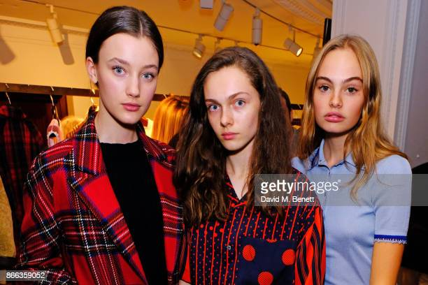 Scarlett CaudwellBurgess Sophia Roberts and Florence Clapcott attend the Burberry BAFTA Breakthrough Brits 2017 at the global Burberry flagship on...