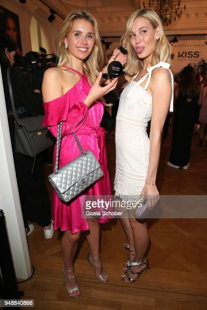 Scarlett Gartmann girlfriend of Marco Reus and Mandy Bork during the Kiss New York launch at Kustermann Kochschule on April 19 2018 in Munich Germany