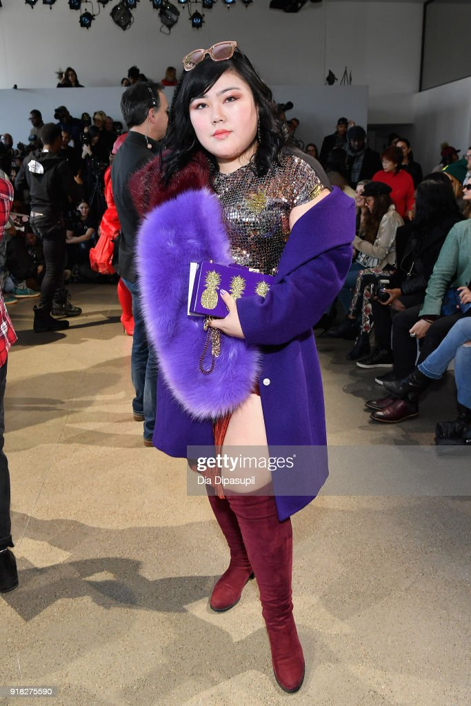 Scarlett Hao attends the Leanne Marshall front row during New York Fashion Week: The Shows at Gallery II at Spring Studios on February 14, 2018 in New York City.