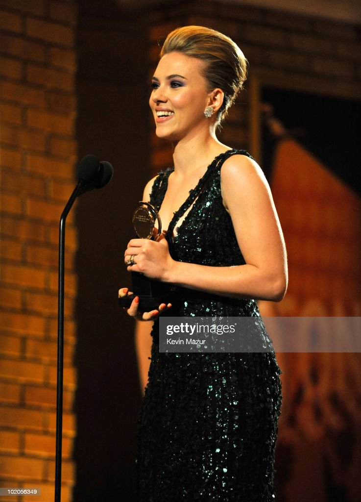 Scarlett Johansson accepts award onstage during the 64th Annual Tony Awards at Radio City Music Hall on June 13, 2010 in New York City.