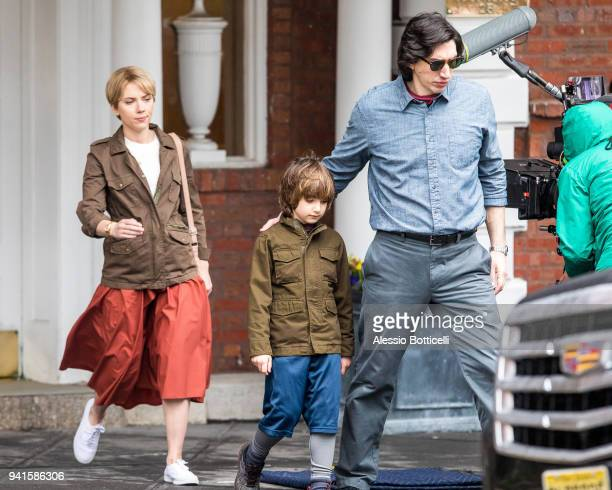 Scarlett Johansson and Adam Driver are seen filming the Untitled Noah Baumbach project on April 03 2018 in New York New York