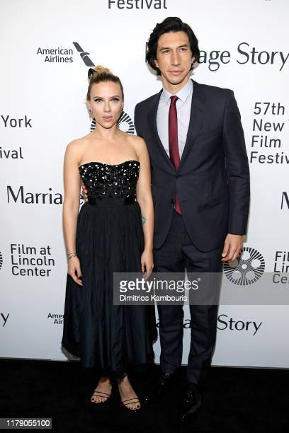 Scarlett Johansson and Adam Driver attend the Marriage Story premiere at 57th New York Film Festival on October 04 2019 in New York City