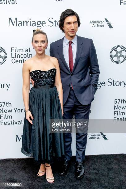 "Scarlett Johansson and Adam Driver attend the ""Marriage Story"" premiere at the 57th New York Film Festival on October 04, 2019 in New York City."