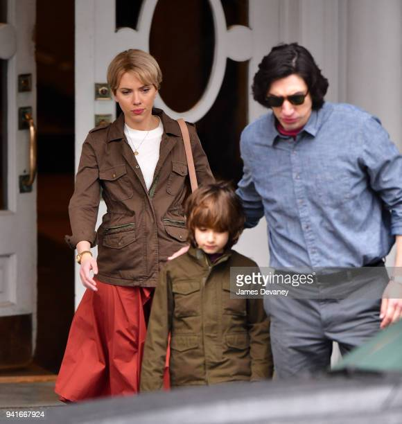 Scarlett Johansson and Adam Driver seen on location for untitled Noah Baumbach project in Brooklyn on April 3 2018 in New York City