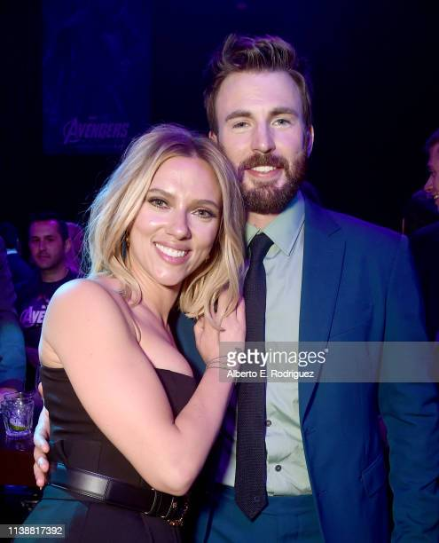Scarlett Johansson and Chris Evans attend the Los Angeles World Premiere of Marvel Studios' Avengers Endgame at the Los Angeles Convention Center on...