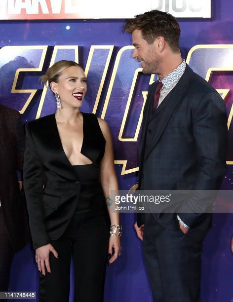 Scarlett Johansson and Chris Hemsworth attend the 'Avengers Endgame' UK Fan Event at the Picturehouse Central on April 10 2019 in London England