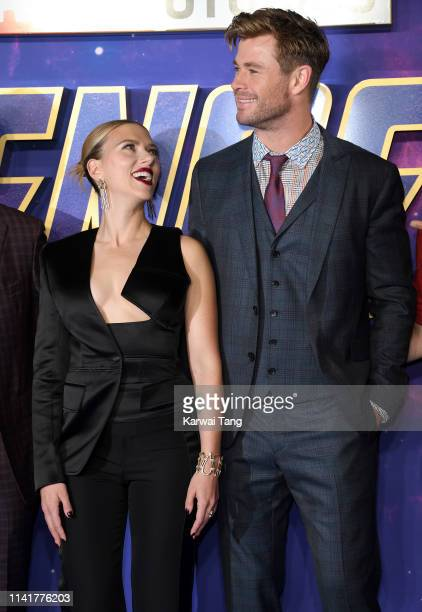 Scarlett Johansson and Chris Hemsworth attend the 'Avengers Endgame' UK Fan Event at Picturehouse Central on April 10 2019 in London England