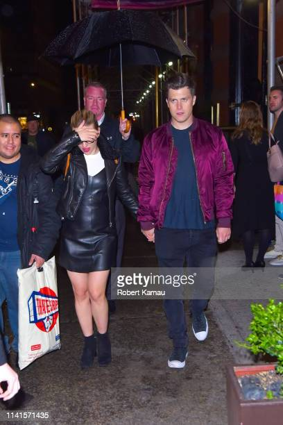 Scarlett Johansson and Colin Jost are seen at an SNL after party at Rosa Mexicano in Manhattan on May 4 2019 in New York City