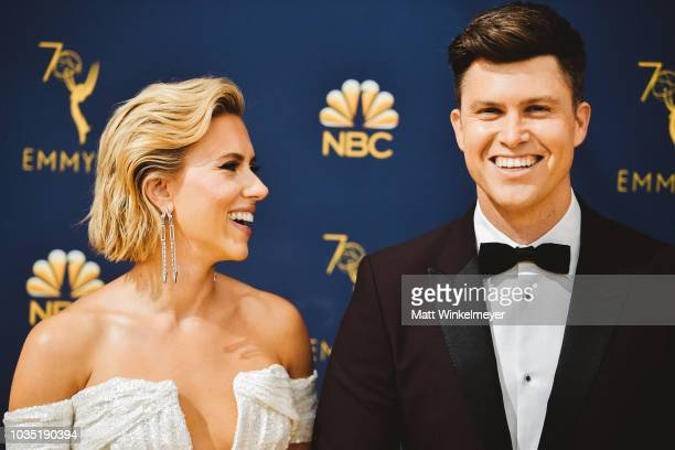 Scarlett Johansson and Colin Jost arrives at the 70th Emmy Awards on September 17 2018 in Los Angeles California