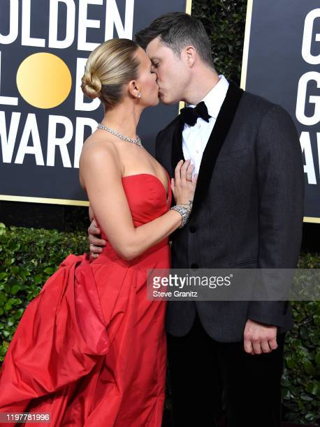 Scarlett Johansson and Colin Jost arrives at the 77th Annual Golden Globe Awards attends the 77th Annual Golden Globe Awards at The Beverly Hilton...