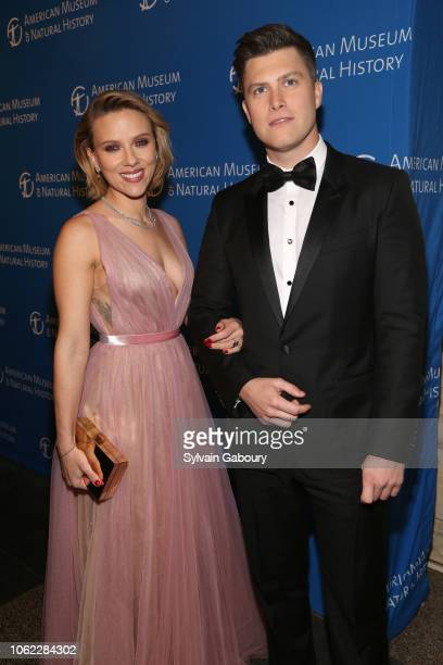 Scarlett Johansson and Colin Jost attend American Museum Of Natural History's 2018 Museum Gala at American Museum of Natural History on November 15...
