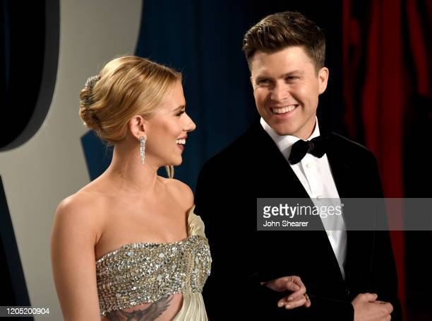 Scarlett Johansson and Colin Jost attend the 2020 Vanity Fair Oscar Party hosted by Radhika Jones at Wallis Annenberg Center for the Performing Arts...