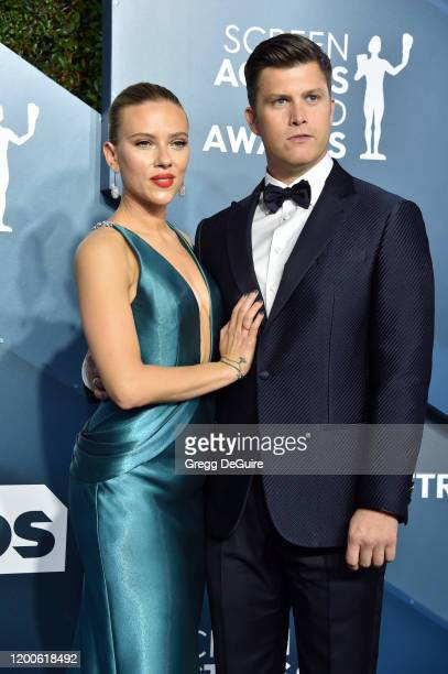 Scarlett Johansson and Colin Jost attend the 26th Annual Screen Actors Guild Awards at The Shrine Auditorium on January 19, 2020 in Los Angeles,...