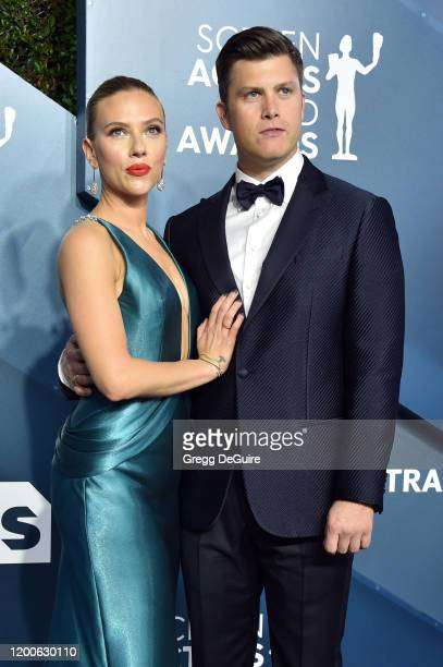 Scarlett Johansson and Colin Jost attend the 26th Annual Screen ActorsGuild Awards at The Shrine Auditorium on January 19, 2020 in Los Angeles,...