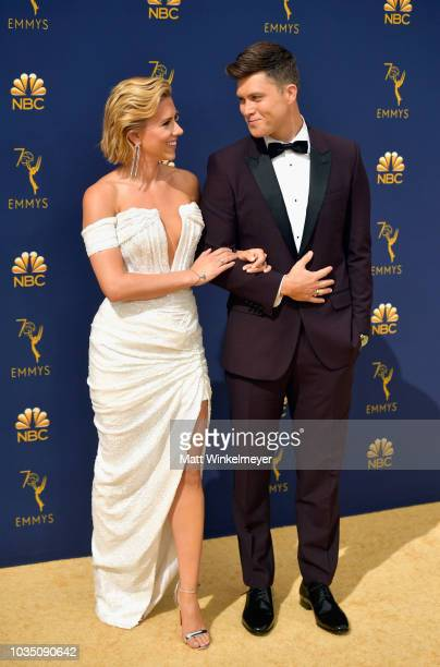 Scarlett Johansson and Colin Jost attend the 70th Emmy Awards at Microsoft Theater on September 17 2018 in Los Angeles California