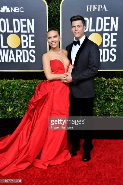Scarlett Johansson and Colin Jost attend the 77th Annual Golden Globe Awards at The Beverly Hilton Hotel on January 05 2020 in Beverly Hills...