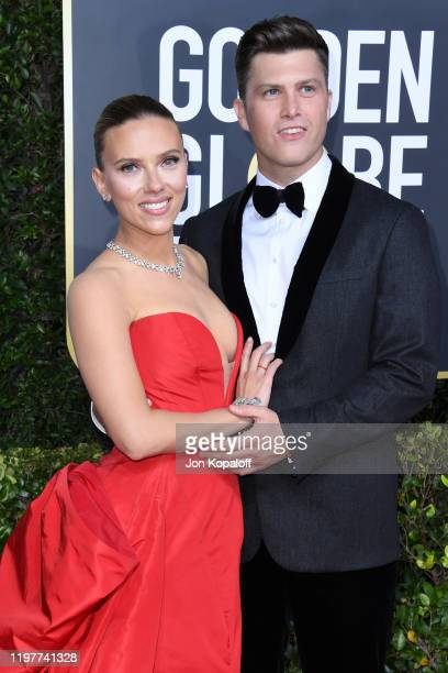 Scarlett Johansson and Colin Jost attend the 77th Annual Golden Globe Awards at The Beverly Hilton Hotel on January 05, 2020 in Beverly Hills,...