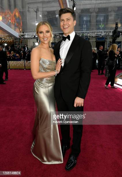 Scarlett Johansson and Colin Jost attend the 92nd Annual Academy Awards at Hollywood and Highland on February 09 2020 in Hollywood California