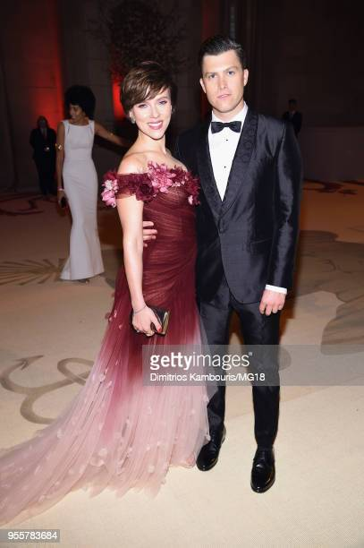 Scarlett Johansson and Colin Jost attend the Heavenly Bodies Fashion The Catholic Imagination Costume Institute Gala at The Metropolitan Museum of...