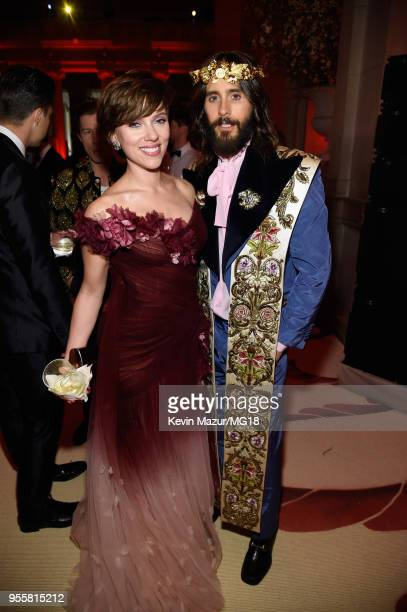 Scarlett Johansson and Jared Leto attend the Heavenly Bodies Fashion The Catholic Imagination Costume Institute Gala at The Metropolitan Museum of...