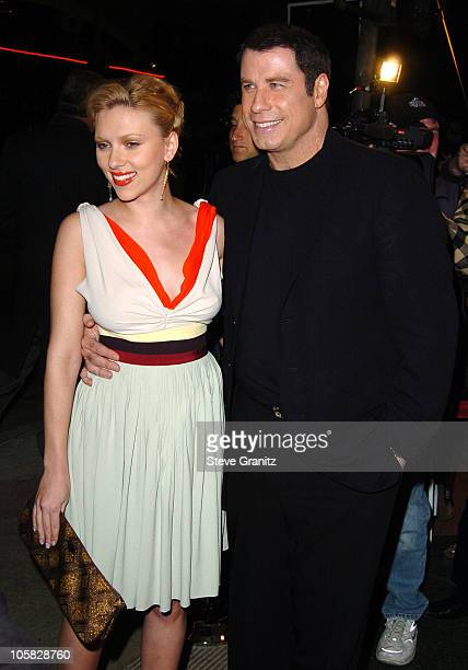 Scarlett Johansson and John Travolta during 'A Love Song for Bobby Long' Los Angeles Premiere Arrivals at Mann Bruin Theatre in Westwood California...